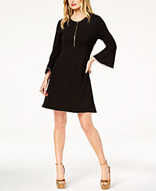 Zoe by Rachel Zoe Bell-Sleeve Zip-Neck Dress, Created For Macy's