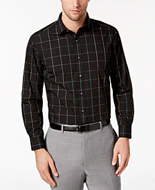 Bar III Men's Reg-Fit Stretch Easy-Care Windowpane Dress Shirt, Created for Macy's