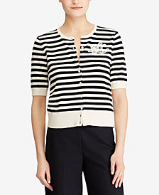 Lauren Ralph Lauren Monogram Striped Cotton Cardigan