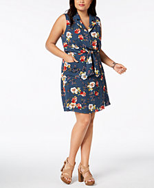 Monteau Trendy Plus Size Floral-Print Shirtdress