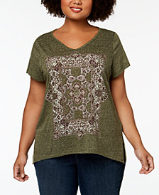 Style & Co Plus Size Graphic Split-Hem Top, Created for Macy's