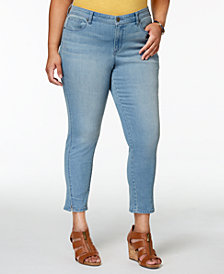 Style & Co Plus Size Split-Cuff Skinny Ankle Jeans, Created for Macy's