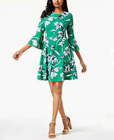 Jessica Howard Printed Bell-Sleeve Fit & Flare Dress