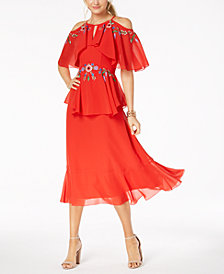 Nanette Lepore Embroidered Flounce Maxi Dress
