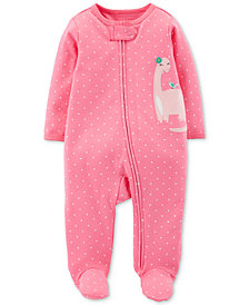 Carter's Baby Girls Dot-Print Dinosaur Footed Cotton Coverall