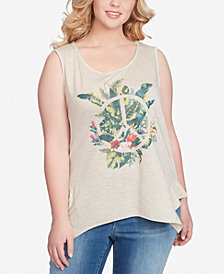 Jessica Simpson Trendy Plus Size Linnie Graphic-Print Tank Top