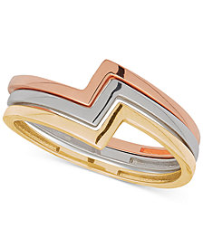 Tricolor 3-Pc. Set Geometric Stack Rings in 10k Gold, White Gold & Rose Gold