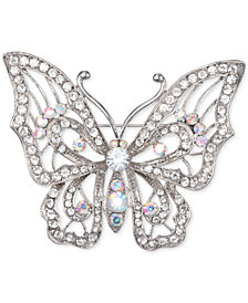 Nina Silver-Tone Crystal Open Butterfly Pin
