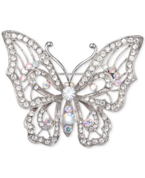 Silver-Tone Crystal Open Butterfly Pin in Rhdm/White