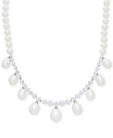 "Arabella Cultured Freshwater Pearl (5mm, 10mm) & Swarovski Zirconia 17"" Collar Necklace in Sterling Silver"