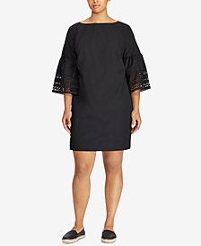 Lauren Ralph Lauren Plus Size Bell-Sleeve Shift Dress