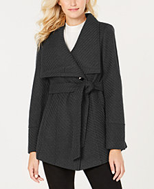 I.N.C. Petite Textured Wrap Coat, Created for Macy's