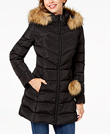 I.N.C. Faux-Fur-Trim Quilted Puffer Coat, Created for Macy's