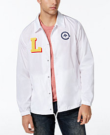 LRG Men's Big L Appliqué Logo-Print Coaches Jacket