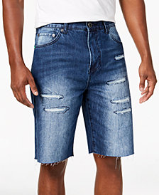 LRG Men's Stroker Classic-Fit Destroyed Cutoff Denim Shorts