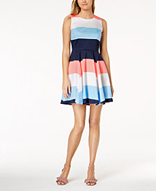 Maison Jules Colorblocked Fit & Flare Dress, Created for Macy's
