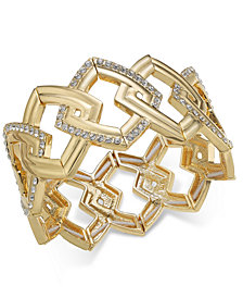 I.N.C. Gold-Tone Pavé Link Stretch Bracelet, Created for Macy's