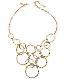 "I.N.C. Gold-Tone Hammered & Linked Circle Statement Necklace, 18"" + 3"" extender, Created for Macy's"