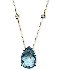 "Blue Topaz (13 ct. t.w.) & White Topaz (5/8 ct. t.w.) Pendant Necklace in 14k Gold-Plated Sterling Silver, 16"" + 2"" extender"
