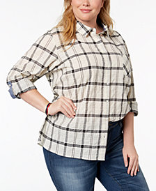Tommy Hilfiger Plus Size Plaid Roll-Tab Shirt, Created for Macy's