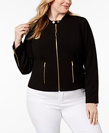 Plus Size Lux Stretch Zip-Front Jacket