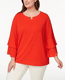 Calvin Klein Plus Size Ruffle-Sleeve Tunic