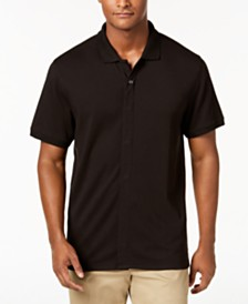 MagnaClick Men's Knit Solid Pima Cotton Polo with Magnetic Buttons
