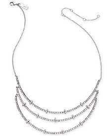 "I.N.C. Silver-Tone Crystal & Rondelle Bead Triple-Row Necklace, 15"" + 3"" extender, Created for Macy's"