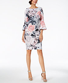 Calvin Klein Floral-Print Bell-Sleeve Sheath Dress