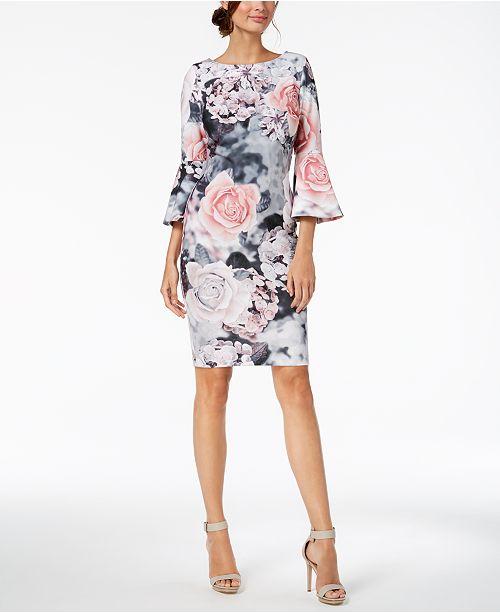 a80954fcf83fb ... Calvin Klein Floral-Print Bell-Sleeve Sheath Dress
