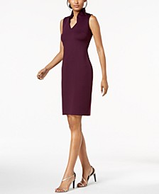 Ruffled-Collar Scuba Sheath Dress, Regular & Petite Sizes