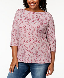 Karen Scott Plus-Size Boat-Neck 3/4-Sleeve T-Shirt, Created for Macy's