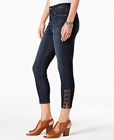 Style & Co Petite Laced-Hem Capri Jeans, Created for Macy's