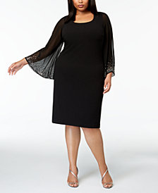 Calvin Klein Plus Size Embellished Chiffon-Sleeve Dress