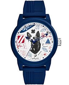 A|X Armani Exchange Men's Blue Silicone Strap Watch 46mm