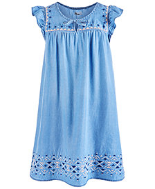Epic Threads Big Girls Embroidered Denim Dress, Created for Macy's