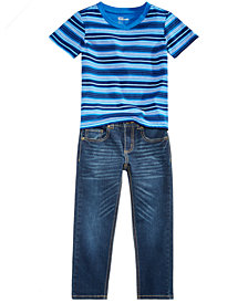 Epic Threads Little Boys Earth Striped T-Shirt & Slim-Fit Denim Jeans Separates, Created for Macy's