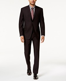 Marc New York by Andrew Marc Men's Modern-Fit Stretch Burgundy Solid Suit