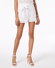Love, Fire Juniors' Cotton Tie-Waist Eyelet Shorts