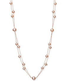 "Belle de Mer Pink Cultured Freshwater Pearl (5mm, 7-1/2mm) 18"" Two-Layer Necklace (Also in White Cultured Freshwater Pearl)"