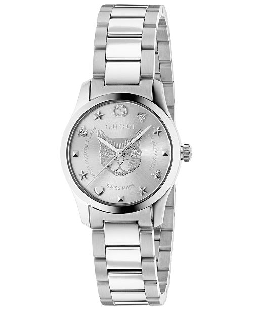 27c96390c51b Gucci Women s Swiss G-Timeless Stainless Steel Bracelet Watch 27mm ...
