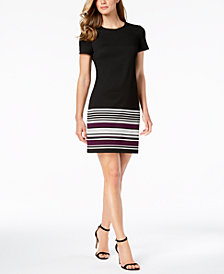 Calvin Klein Striped-Hem A-Line Dress