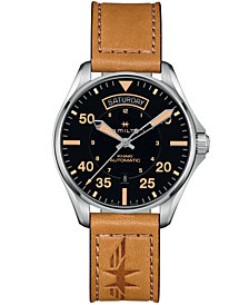 Hamilton Men's Swiss Automatic Khaki Pilot Brown Leather Strap Watch 42mm