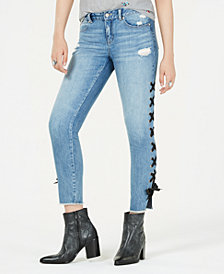 Rewash Juniors' Lace-Up Skinny Jeans