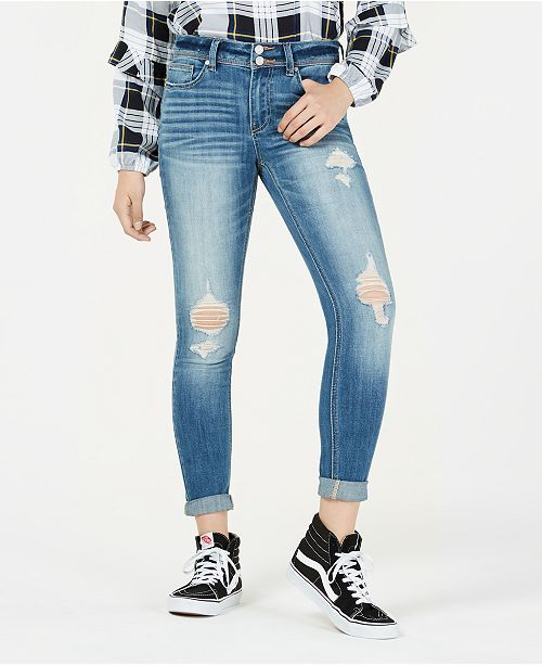ea9c44391 Indigo Rein Juniors' Distressed Cuffed Skinny Jeans & Reviews ...