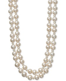 "Cultured Freshwater Pearl (4mm, 9-1/2mm) Two Layer 17""/18"" Collar Necklace"