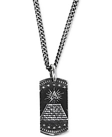 "King Baby Men's Eye of Providence Dog Tag 24"" Pendant Necklace in Sterling Silver"