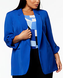 Nine West Plus Size Open-Front Blazer