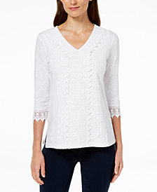 JM Collection Petite Crochet-Lace Top, Created for Macy's