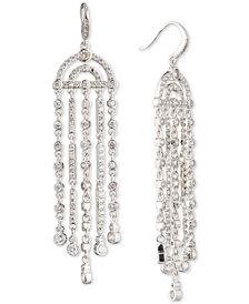 Carolee Silver-Tone Cubic Zirconia Fringe Chandelier Earrings